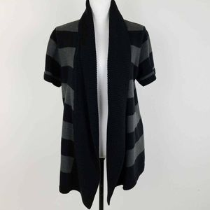 Cardigan Knit Sweater Black Gray Stripe